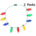 2 PCS LED Light Up Christmas Bulb Necklace Xmas Holiday Party Favors Ornaments Supplies