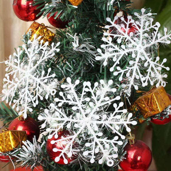 36pcs White Sparkling Snowflakes String & Sticker Window Clings Decal Christmas Decoration