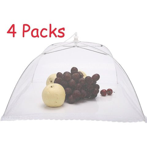 "4 PCS 17""x17"" Large Pop-up Foldable Mesh Screen Food Cover Tents Umbrella - Happidtime"