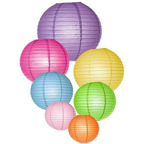 Round Chinese Paper Lanterns Assorted Colors Sizes--Birthday/Wedding/Christmas/Ceiling Party Supplies Favors Hanging Decoration - Happidtime