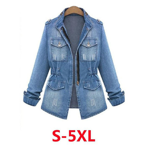 Plus Size Casual   Tops Jeans Zipper Coat