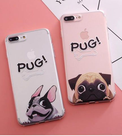 BullDog Pug Pattern Silicone case  iPhone 6 6s 6/7/8 Plus X - Happidtime