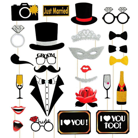 Wedding Photo Booth Props Kit - Bridal Shower Party Supplies Decorations - Happidtime