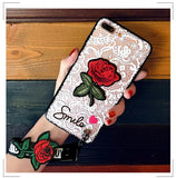 Fashion long strap Lace Embroidery rose stickers cover for apple iphone 6 6s plus iPhone 7 7P 8 8P X - Happidtime