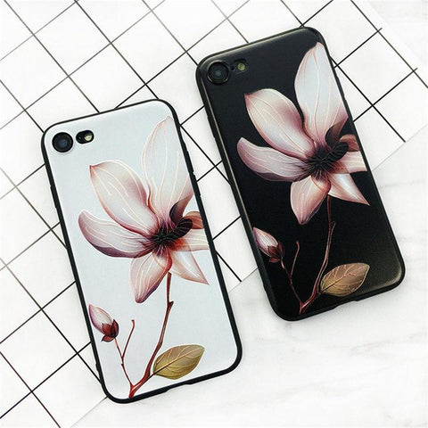 Luxury 3D Lotus Flower Rubber Shockproof Phone Case Cover for iPhone 7 6 6s Plus - Happidtime