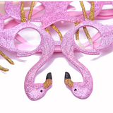 3PCS Flamingo Glitter Glasses - Birthday Luau Hawaiian Party Favors Decorations Supplies