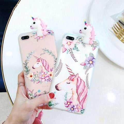 3D Unicorn Flower For iPhone X 5 5s SE Soft TPU Phone Case For iPhone 6 6s 7 8 Plus Cover Lovely Cartoon Case - Happidtime