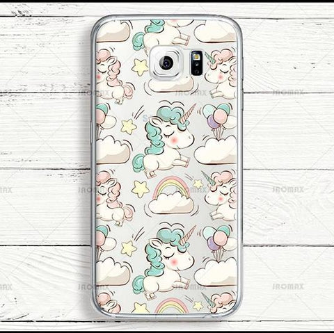 Cute Animal Rainbow Unicorn Phone Case For Samsung Galaxy J7 Note 3 4 5 8 J3 J5 A3 A5 Transparent Silicone Luxury Cover - Happidtime