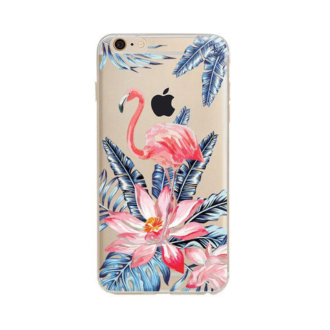 Hot Flamingo Phone Cases Summer Flamencos Pattern Soft Silicone TPU Transparent Clear Coque for iphone 8 6S X 7 plus 5S SE Cover - Happidtime