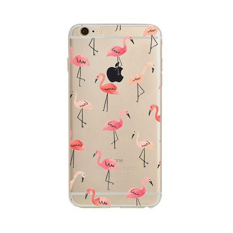 Silicone Case For iPhone 7 Case iPhone 7 Plus  Flamingo iPhone Cover For iPhone7 Plus 8 X 6s 5S Case - Happidtime