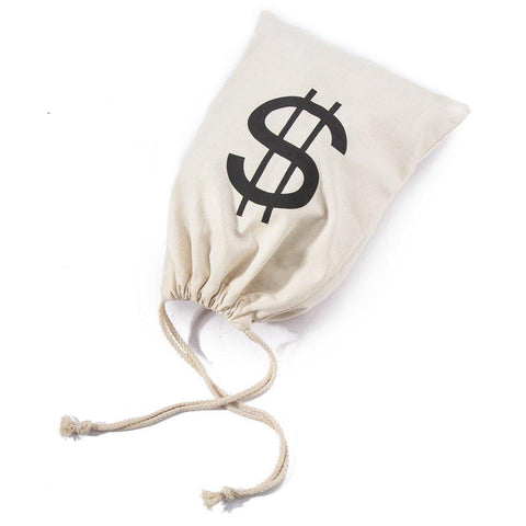 Large Money Bags Drawstring Pouch with Dollar Sign - Halloween Party Trick or Treat/Bank Robber/Cowboy Pirate Favors Supplies Costume Prop Canvas Sack