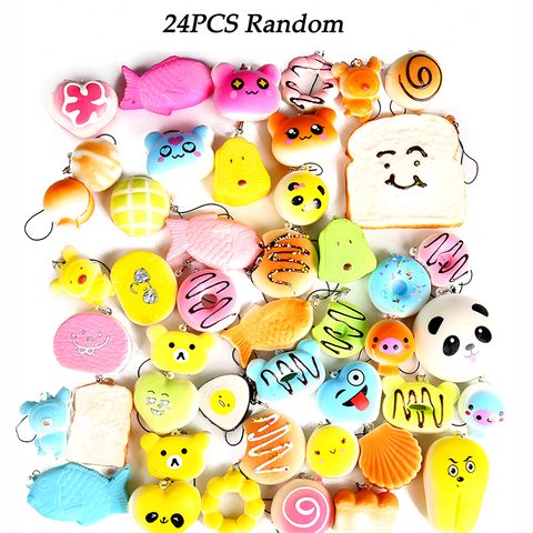24pcs Random Squishy Slow Rising Foods Toy - Panda /Cake/Bread/Bun/Phone Strap - Happidtime