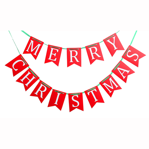 Merry Christmas Banners Garlands Flags for Holiday Xmas Party Decoration Ornaments Supplies - Happidtime