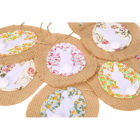 4.5m Easter Eggs Bunny Banners Garland Flags Burlap Bunting for Party Decorations Ornaments