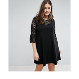 Womens Plus Size Dress O-Neck Straight Lace Patchwork And Three Quarter Empire In Summer - Happidtime