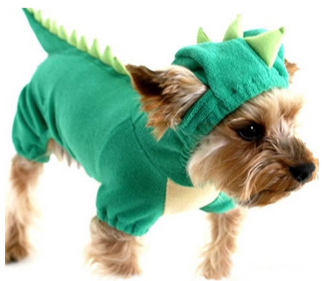 Dinosaur Hoodie Pet Dog Costume Clothes Pet Coat Sweater Green - Happidtime