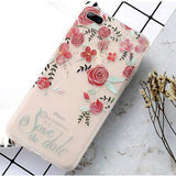 Flower Relief Case For iPhone 6S 7 8 Plus Cover Soft Silicone TPU Protective Cover For iPhone X 8 7 6 Plus 5 SE Phone Case - Happidtime