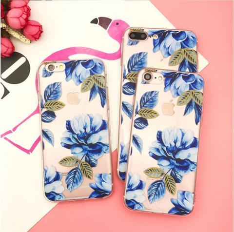 Silicone Case For iPhone 7 Case iPhone 7 Plus  Flower  Phone Cover For iPhone7 Plus 8 X 6s 5S Case - Happidtime
