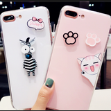 Cute Case For iPhone Case Cover Cat Pink Black Silicon Phone Case for iPhone 6 7 Transparent Fundas Coque - Happidtime