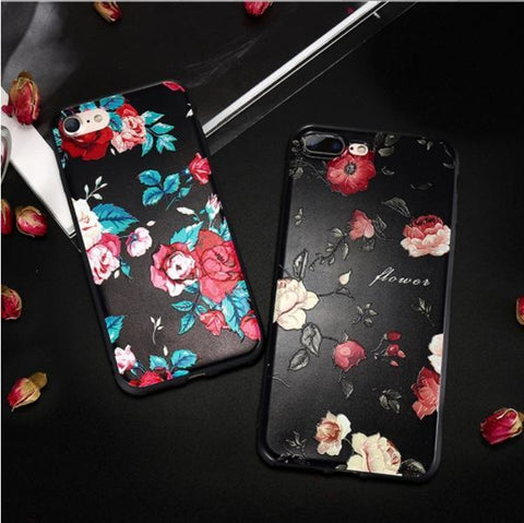 3D Relief Flower Case For iPhone 6 7 8 Plus X - Happidtime