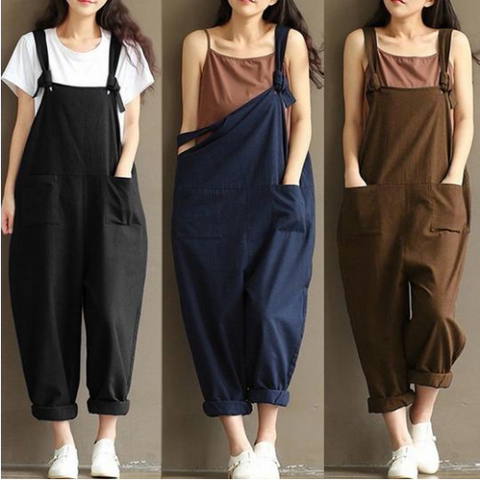 2018 Summer Autumn  Rompers Womens Jumpsuits Vintage Sleeveless Backless Casual Loose Solid Overalls Strapless Paysuits - Happidtime