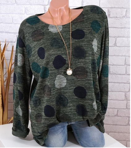 Fashion Women  Plus Size Casual Loose Print Wave Point  Blouse