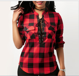 Fashion Women Blouse Shirt Sexy Plaid  Long Sleeve Tops Tee