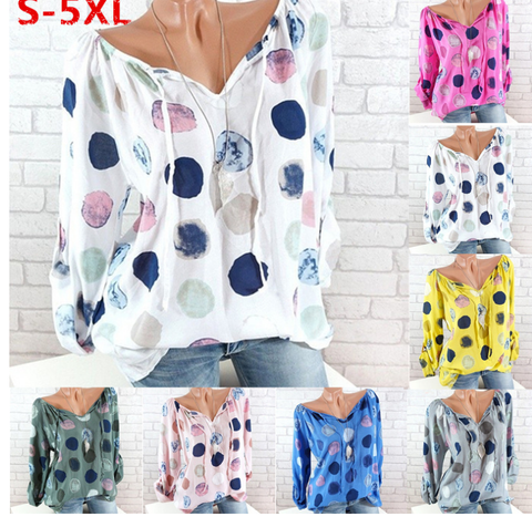 Plus Size Women Fashion  Blouse Casual Loose Dot Printing Tops