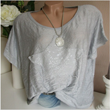 Women Round Collar Loose Tops Bat-Sleeved