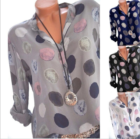Women Plus size Floral Printing Long T-shirt  Casual Style