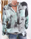 Fashion  Printing T-shirt Women Long Sleeve Loose Casual Blouse
