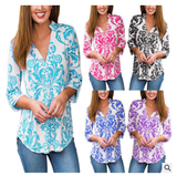 Hot Sale Fashion Women  Floral Printing  Long Sleeve   T-shirt