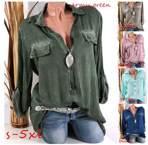Plus Size S-5XL Women Casual Loose  Blouse Long Sleeve  T-shirts