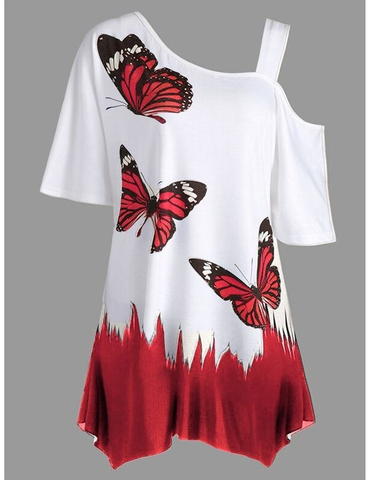 The Sexy Blouse  Print The Butterfly's Short Sleeve.