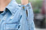 Women Hole Boyfriend Style Long Sleeve Vintage Slim Denim Jacket Coats