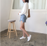 Women High Waist Jupe Irregular Edges Denim Skirts Female Mini Skirt