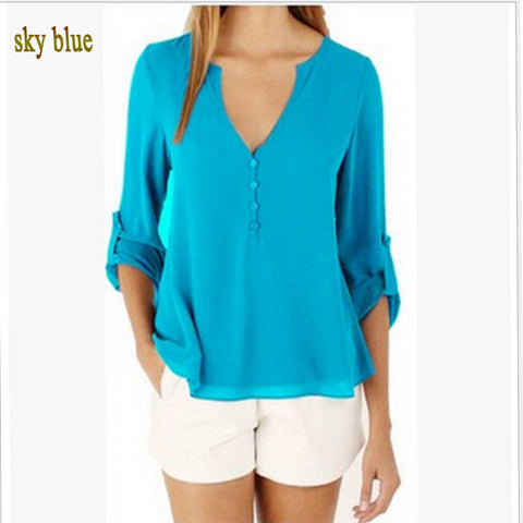 Women Sexy Long-Sleeved Chiffon  T-shirt