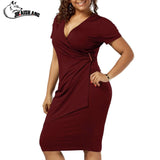 Women Breif Solid Short Sleeve Dress Sheath V-Neck Knee-Length plus size XL-5XL Office Dress Summer Tight Black Red Blue Dresses - Happidtime