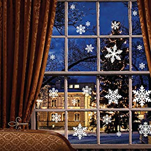 Moon Boat 102 pcs White Snowflakes Window Clings Decal Stickers Christmas Winter Wonderland Decorations Ornaments Party Supplies (5 Sheets)