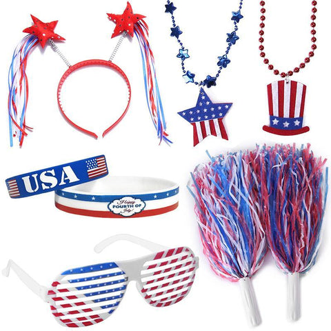 Fourth/4th of July Party Accessories Set - Patriotic Decorations Favors Supplies- Shutter Glasses/Necklaces/Wristband/Headband/Pom Pom - Happidtime