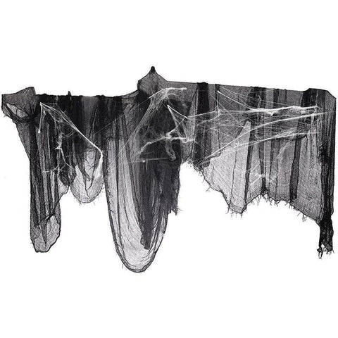 "296"" x 55"" Black Creepy Cloth + Fake Cotton Spider Web- Halloween Prop Bar Party Decoration Supplies - Happidtime"