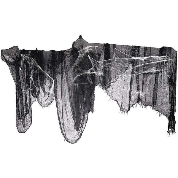 "296"" x 55"" Black Creepy Cloth + Fake Cotton Spider Web- Halloween Prop Bar Party Decoration Supplies"