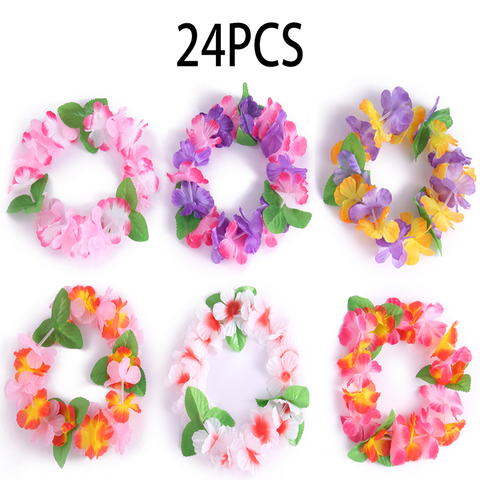 24PCS Hawaiian Mahalo Flower Headband Headpiece Leis- Luau/Tropical/Summer/Tiki/Pool Party Decorations Favors Supplies