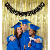 2017 Graduation Banner Decorations Grad Foil Metallic Fringe Curtains - Black Gold Party Supplies Ornaments - Happidtime