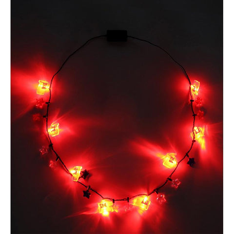 2PCS 4th/Fourth of July Flashing Light Up Patriotic Star Necklace - Party Favors Ornaments Supplies
