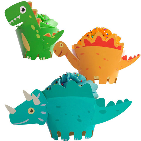 Dinosaur Cupcake Wrappers Party Supplies Birthday Decorations Jurassic - T-Rex/Triceratops/Spinosaurus