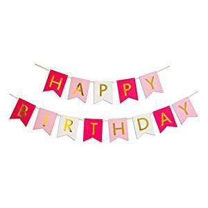 Happy Birthday Banner, Hot Pink, Pastel Pink, White & Gold Party Decorations, Unique Bunting Flag garland