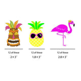 36PCS Flamingo Pinepple Tiki Paper Straws - Happidtime