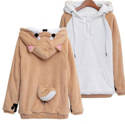 Plush Hoodies Women Sweatshirts With Ears Cute Doge Muco