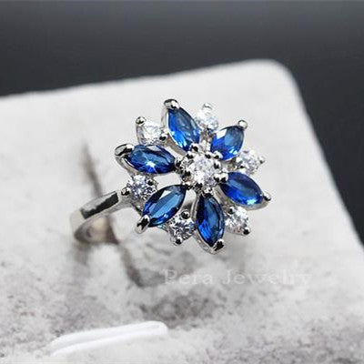 Fashion Women Austrian Royal Blue And White Crystal Snowflake Cubic Zirconia Stone Ring